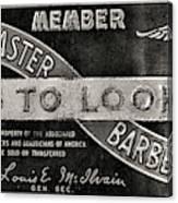 Vintage Associated Master Barber Sign Black And White Canvas Print
