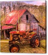 Vintage At The Farm Watercolors Painting Canvas Print
