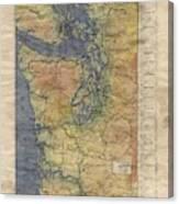 Vintage Auto Map Western Washington Olympic Peninsula Hand Painted Canvas Print