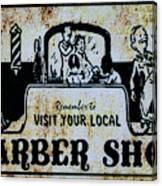 Vintage Barber Sign From The 1950s Canvas Print