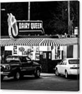 Vintage Dairy Queen At Night Canvas Print
