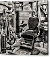 Vintage Dentist Office And Drill Black And White Canvas Print