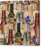Vintage Glass Bottles Collage Canvas Print