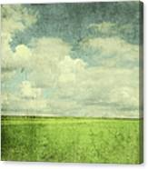 Vintage Image Of Green Field And Blue Canvas Print