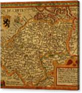 Vintage Map Of Belgium And Flanders Canvas Print