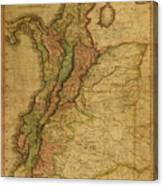 Vintage Map Of Columbia 1818 Canvas Print