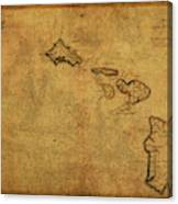 Vintage Map Of Hawaii 1837 Canvas Print