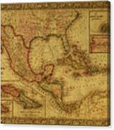 Vintage Map Of Mexico Canvas Print