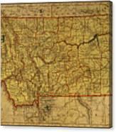 Vintage Map Of Montana Canvas Print