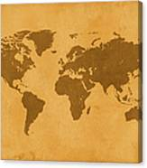 Vintage Map Of The World In Brown Canvas Print