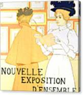 Vintage Poster Advertising A Exhibition At The Salon Des Cent, 1896  Canvas Print
