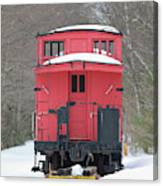 Vintage Red Caboose In Winter Canvas Print