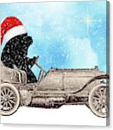 Vintage Santa Newf Holiday Card Canvas Print