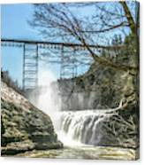 Vintage Train Trestle With Waterfalls Canvas Print