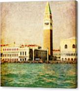 Vintage Venice, S.marco Square From The Sea Canvas Print