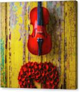 Violin And Heart Wreath Canvas Print
