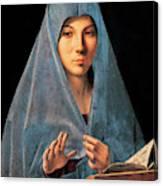 Virgin Of Annunciation Painting By Antonello Di Antonio Dit Antonello Da Messina Canvas Print