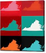 Virginia Pop Art Map Canvas Print