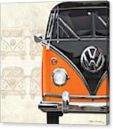 Volkswagen Type 2 - Black And Orange Volkswagen T1 Samba Bus Over Vintage Sketch  Canvas Print