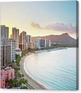 Waikiki Beach At Sunrise Canvas Print