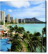Waikiki Beach - Diamond Head Crater  Canvas Print