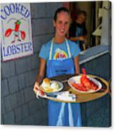 Waitress Serving Lobster  Canvas Print