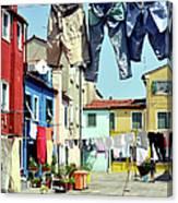 Washday  In  Burano Canvas Print