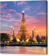 Wat Arun Night View Temple In Bangkok Canvas Print