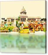 Water Color Vector Panoramic Cuba Canvas Print