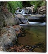 Water Stream On The River With Small Waterfalls Canvas Print