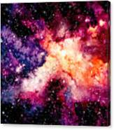 Watercolor Background With Outer Space Canvas Print