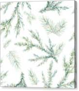 Watercolor Christmas Tree Branches Canvas Print