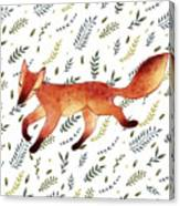 Watercolor Cute Running Fox With Green Canvas Print