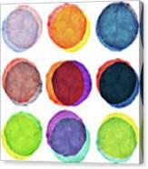Watercolor Painted Circles Various Canvas Print