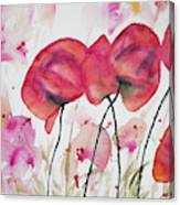 Watercolor - Poppy Portrait Canvas Print