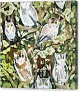 Watercolor - Screech Owl And Forest Design Canvas Print