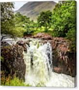 Waterfall Under The Mountain Canvas Print