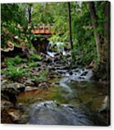Waterfall With Wooden Bridge Canvas Print