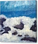Wave Over Rocks Canvas Print