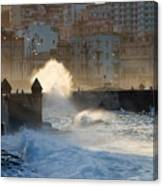 Waves Crashing Against The Sea Wall Of Canvas Print