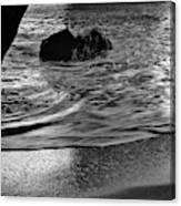 Waves From The Cave In Monochrome Canvas Print