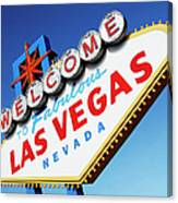 Welcome To Las Vegas Sign, Low Angle Canvas Print
