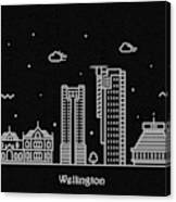 Wellington Skyline Travel Poster Canvas Print
