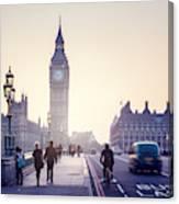 Westminster Bridge At Sunset, London, Uk Canvas Print