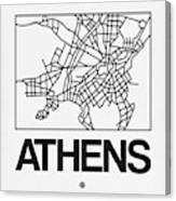 White Map Of Athens Canvas Print