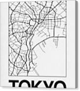 White Map Of Tokyo Canvas Print