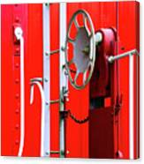 White On Red Railroad Caboose Canvas Print