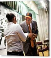 Willie Mays And The World Series Trophy Canvas Print