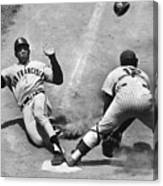 Willie Mays Sliding Into Home Plate Canvas Print