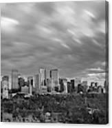Windy Evening Calgary Downtown Bw Canvas Print